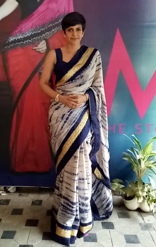 Navy Blue Tie and Dye Saree with Antique Border