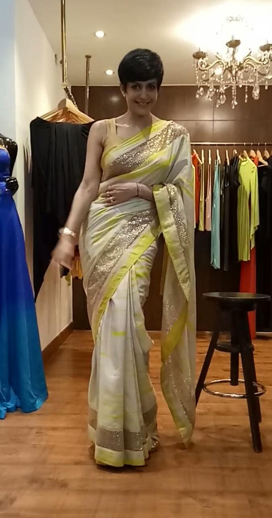 Yellow Single In lay Tie Dye Saree