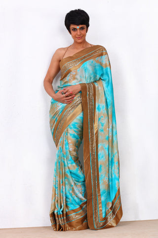 Blue Tie and Dye Saree with Three Stripe Border