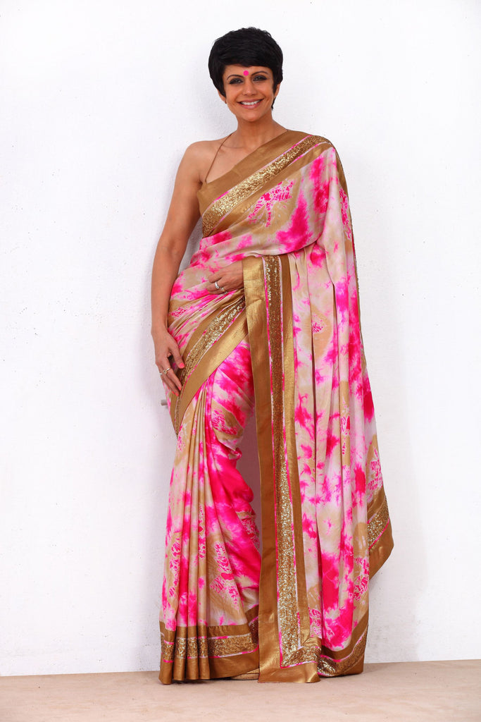 Pink Tie and Dye Saree with Three Stripe Border