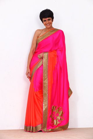 Pink and Orange Saree with Sequin Border