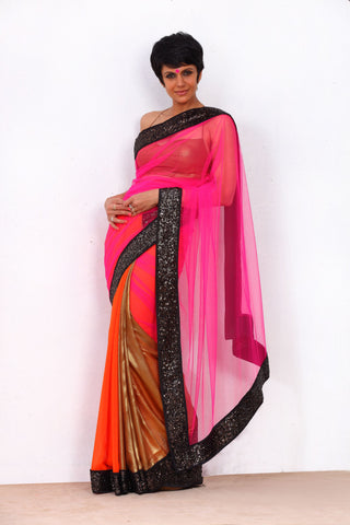 Pink Net Saree with a Black Sequin Border