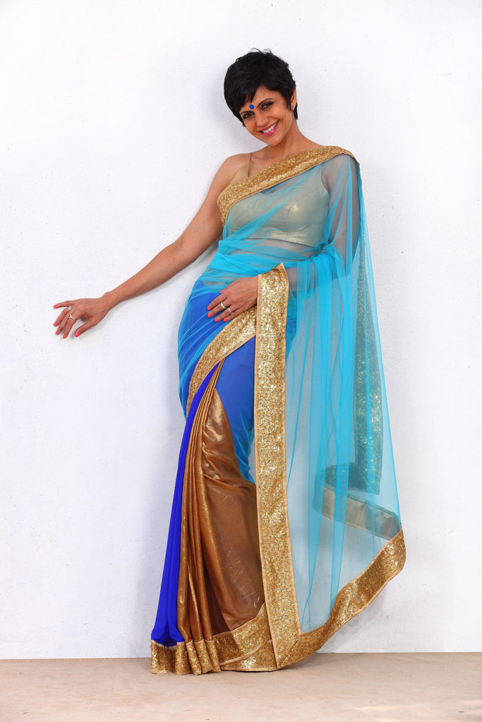 Blue Net Saree with Gold Sequin Border