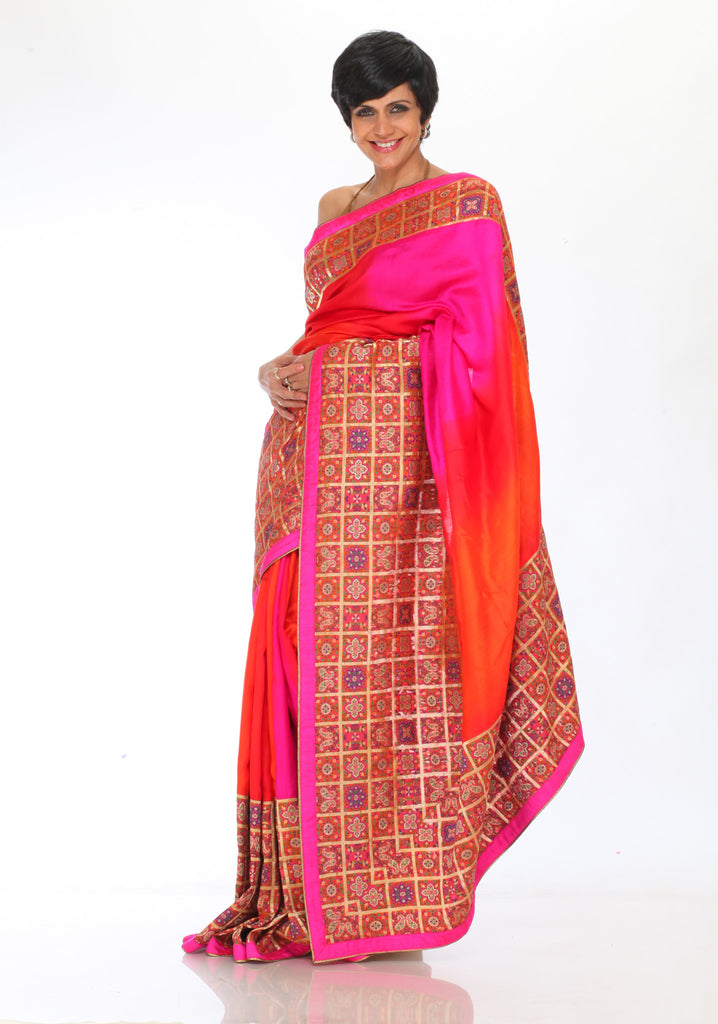 Pink and Orange Gharchola Saree