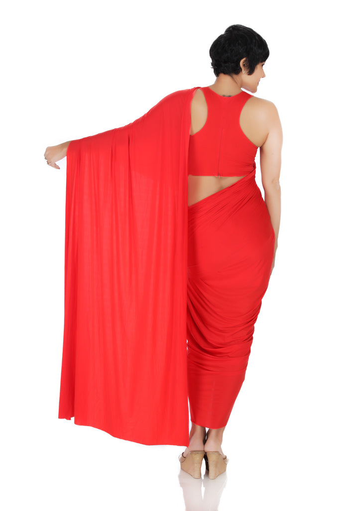 Red Mini Lycra Saree with a dhoti Skirt