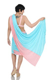 Pink and Blue Mini Lycra Saree