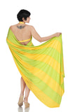 Yellow and Green Mini Lycra Saree