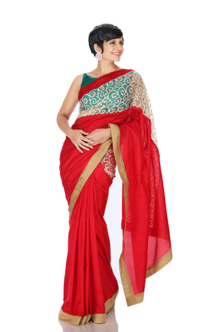 Red saree with thread work panel