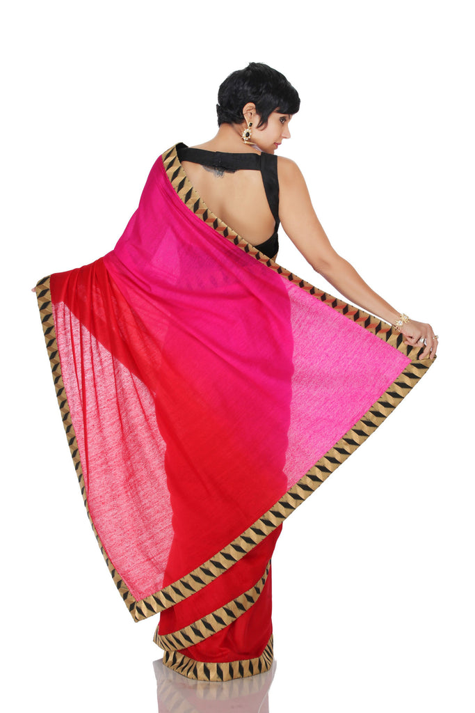 Pink to Red Shaded saree with geometric border