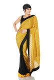 Black Silk saree with Yellow Brocade and black border