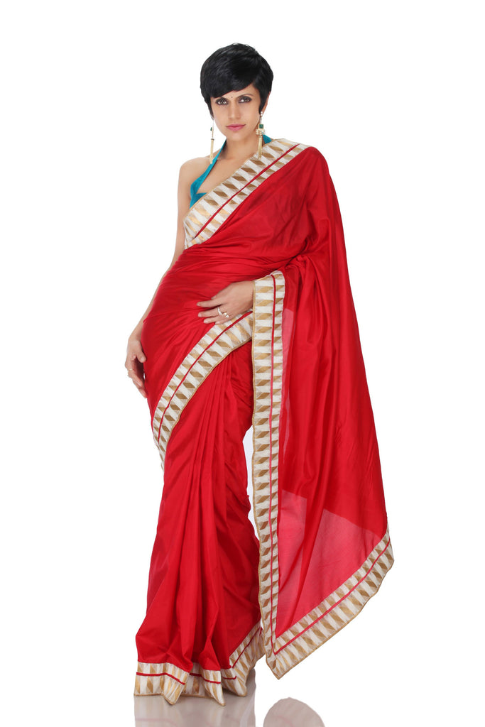 Red Saree with White and Gold Border – Mandira Bedi Sarees