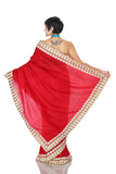 Red Saree with White and Gold Border