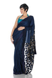 Blue saree with Embroidery on Pallu