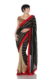 Black and gold saree with Red border