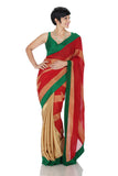 Red saree with gold stripes and green border