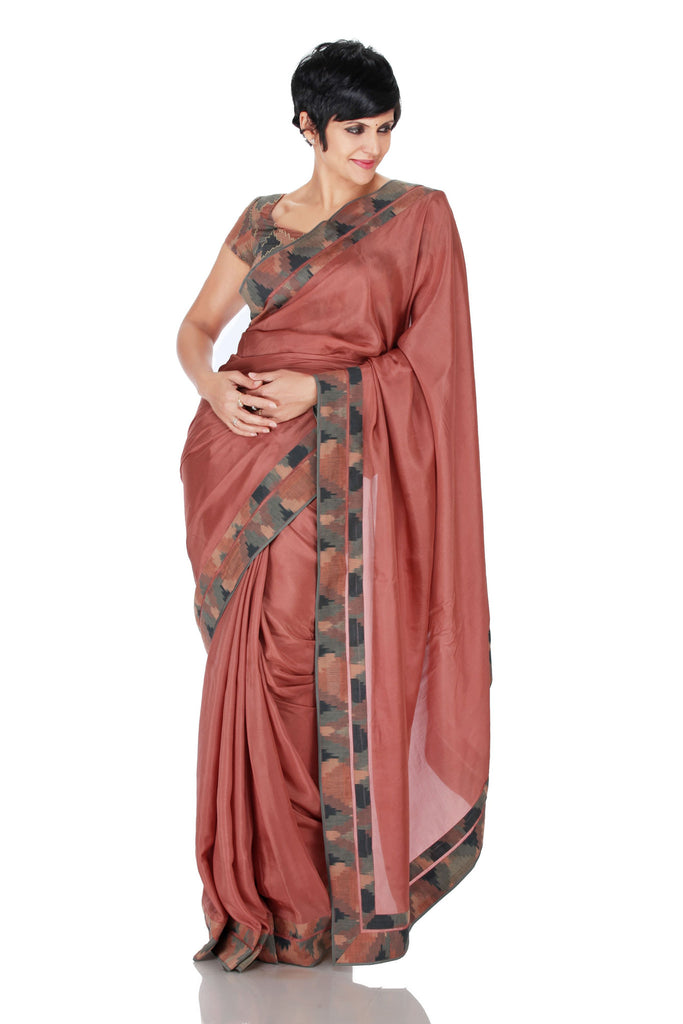 Salmon Pink saree with Ikat Border