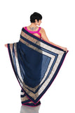 NAVY BLUE SAREE WITH THREAD WORK BORDER