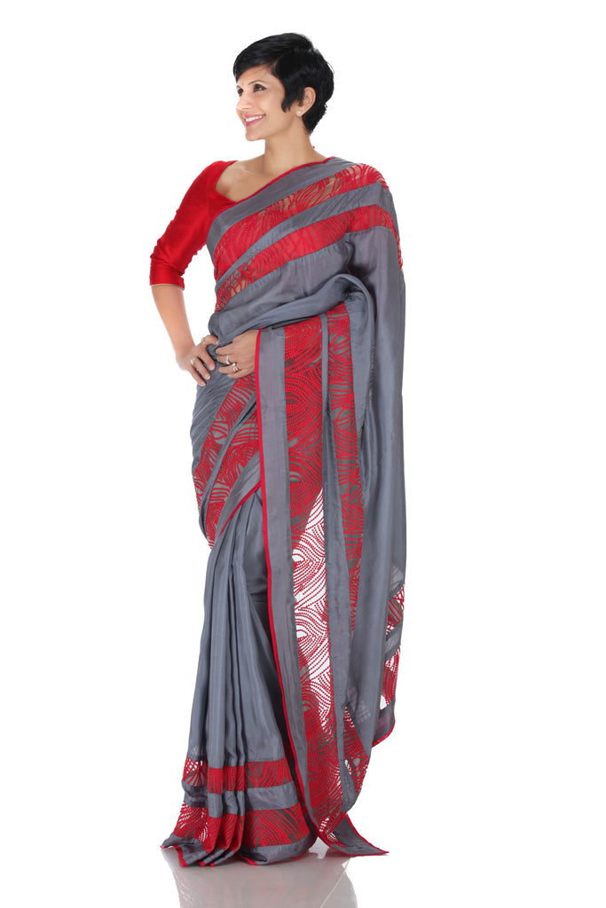 Grey Thread work Sari