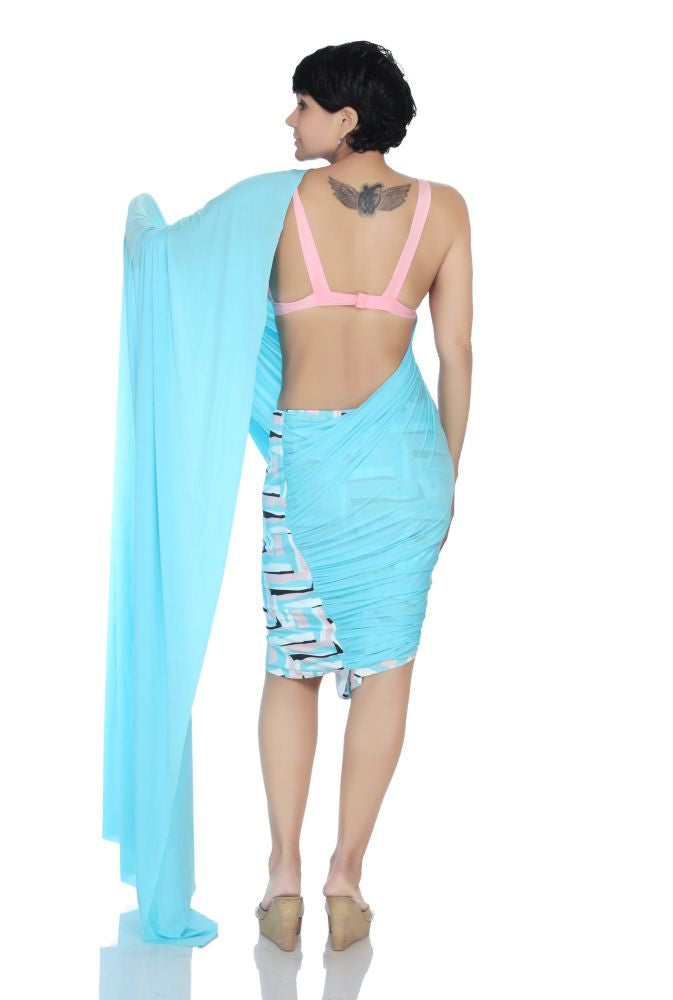 Blue Mini Lycra Saree with a printed skirt