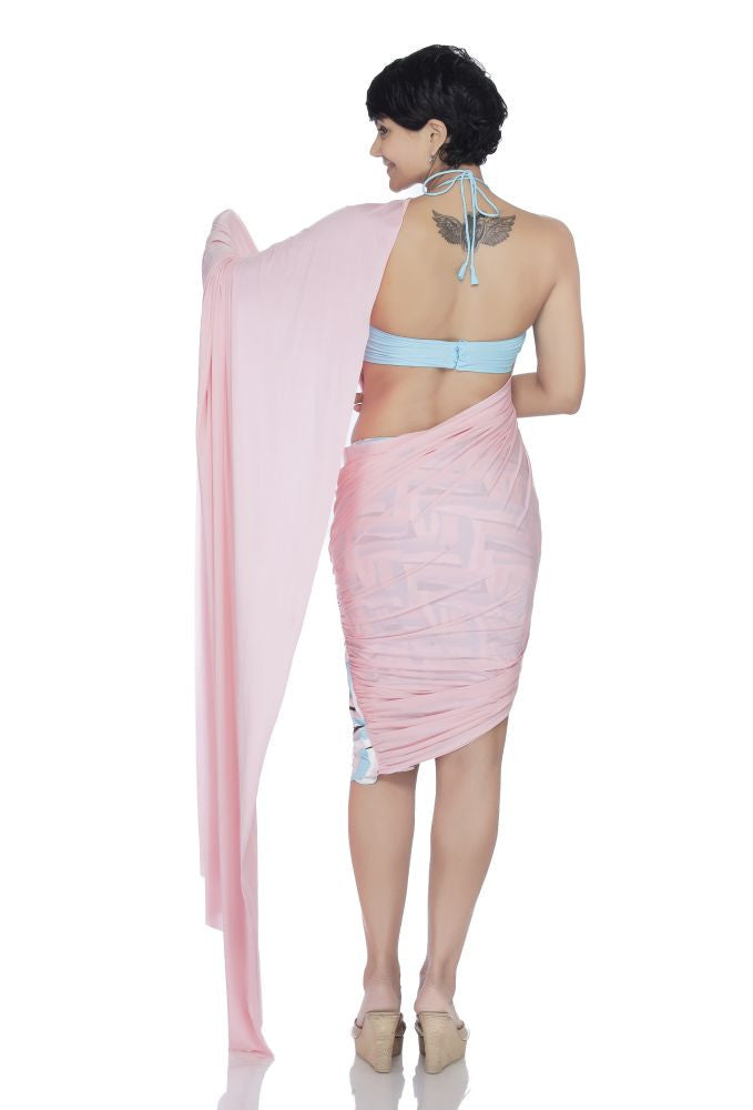 Pink Mini Lycra Saree with a printed skirt