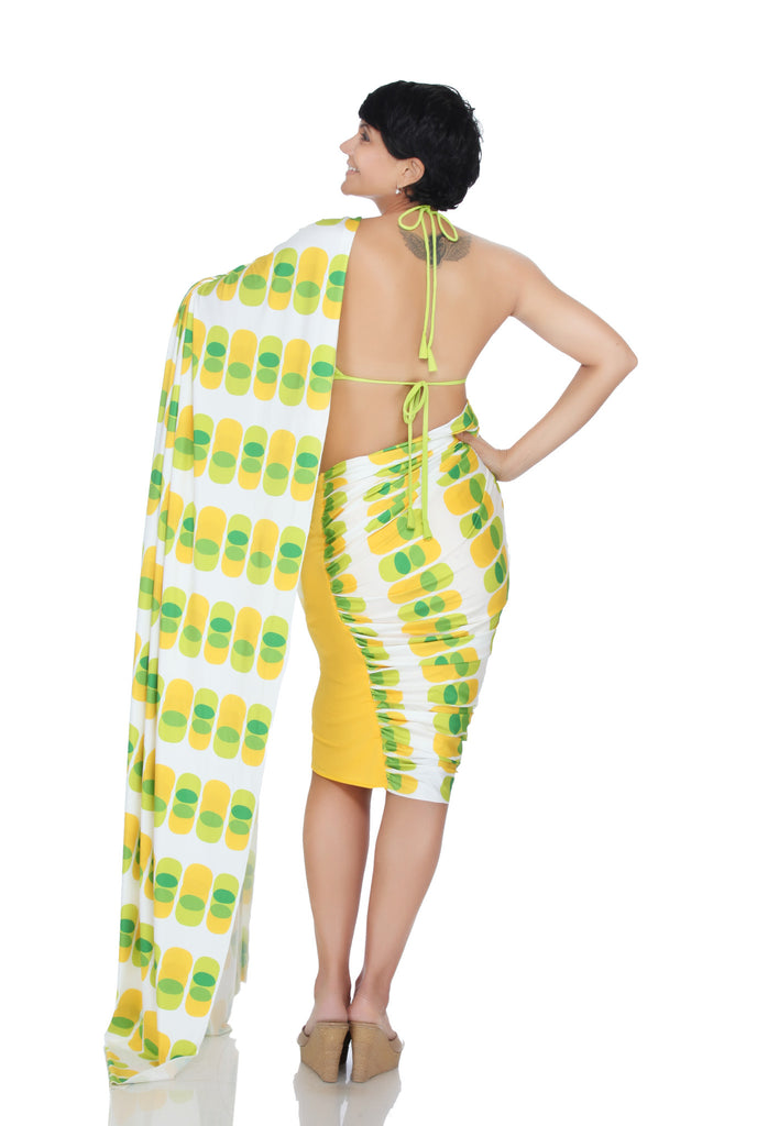 Yellow and Green Mini Lycra Saree with a printed pallu
