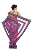 Pink saree with grey and pink stripes