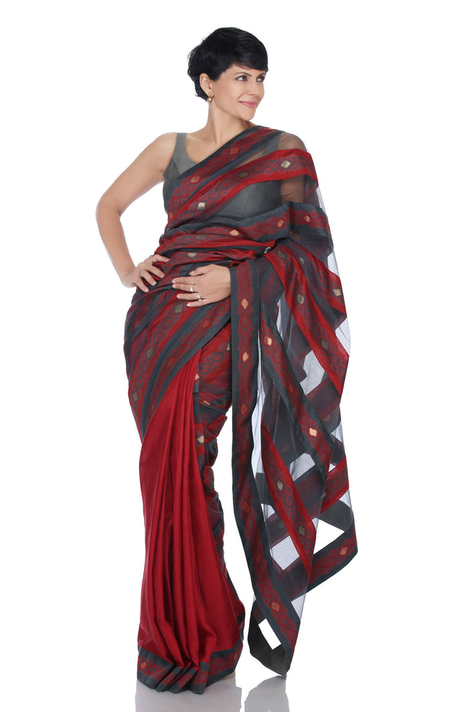 Red saree with grey and red stripes