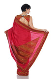 Red saree with Ikat border