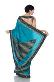 Teal Blue saree with Ikat border