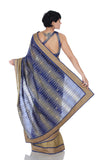 Blue Ikat saree with Gold border