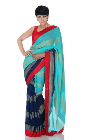 Blue saree with gold stripes