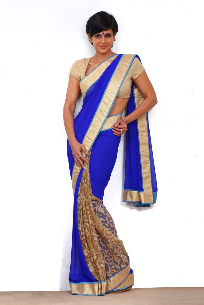 Royal Blue Saree with Gold Border – Mandira Bedi Sarees