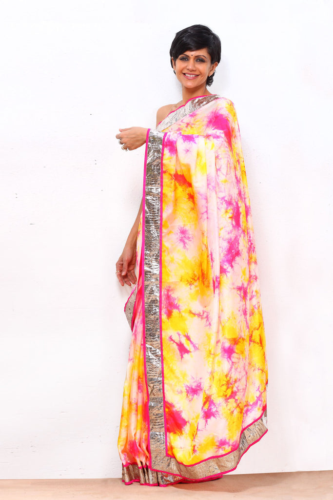 White Tie and Dye Saree with Gota Border