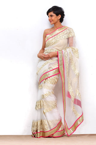 White Thread Work Net Saree With Pink Border
