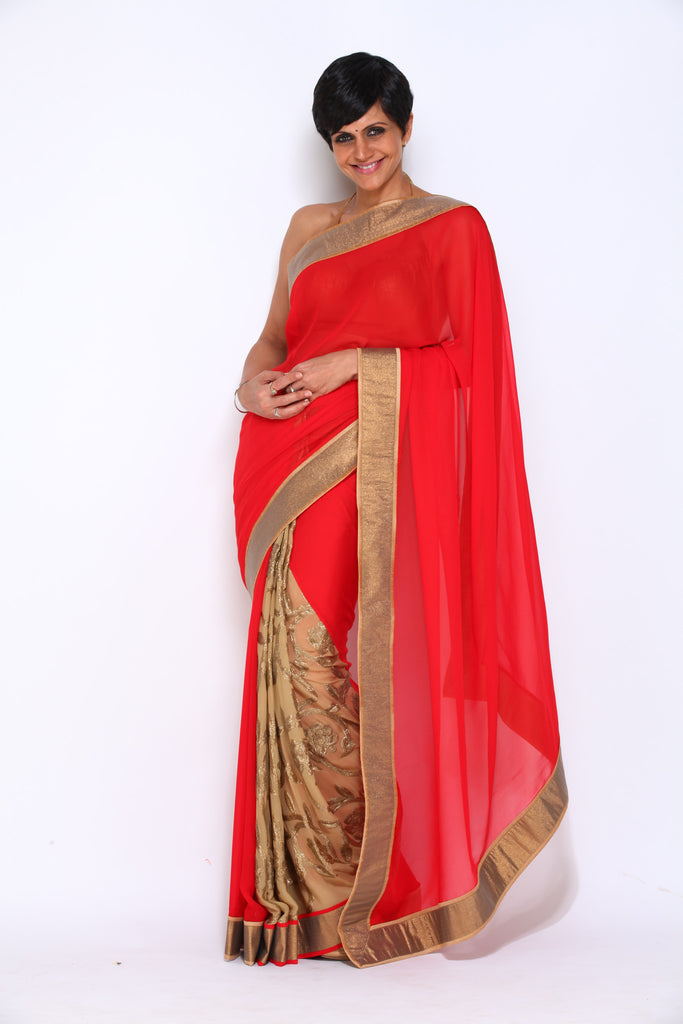 Red Georgette Saree with Beige Jaal as Pleats