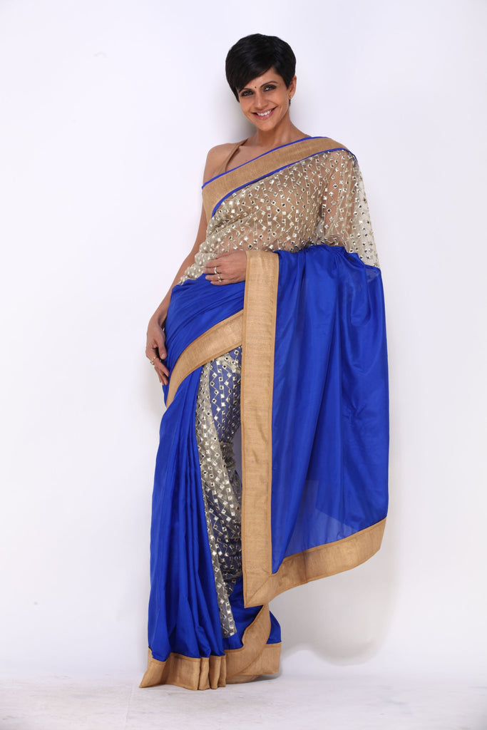 Navy Blue Saree with Mirror Sequins