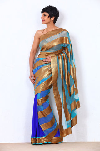 Blue Net Saree With Gold Stripes