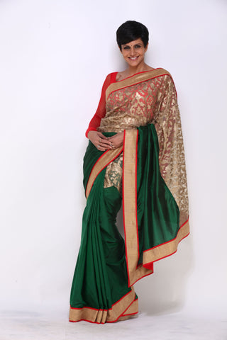 Green Saree with Leather Applique Work