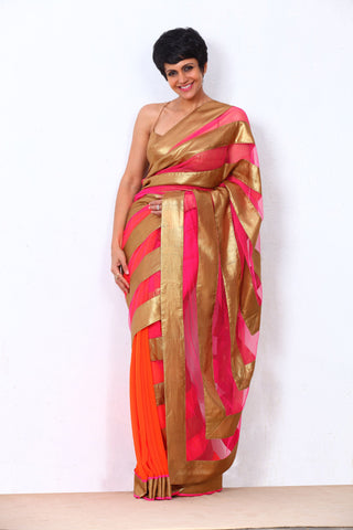 Pink Net Saree With Gold Stripes