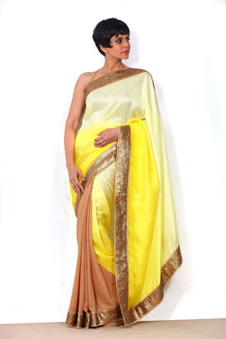 Yellow Shaded Saree with Sequin Border