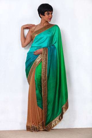 Green Shaded Saree with Sequin Border