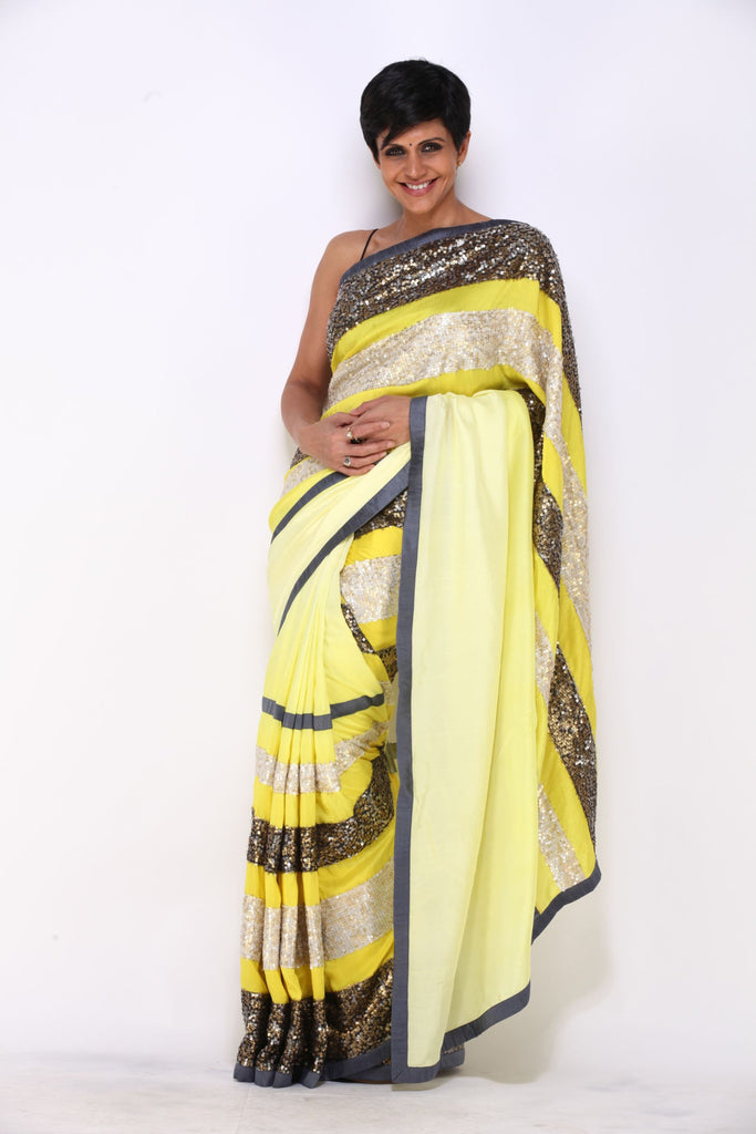 Yellow saree with Sequin Stripes