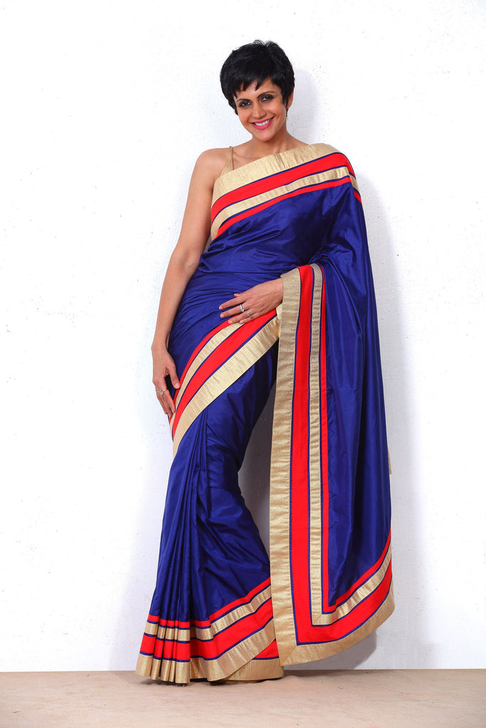 Navy Blue Saree with Red and Gold Border