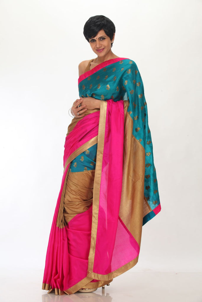Pink and Gold saree with Blue brocade