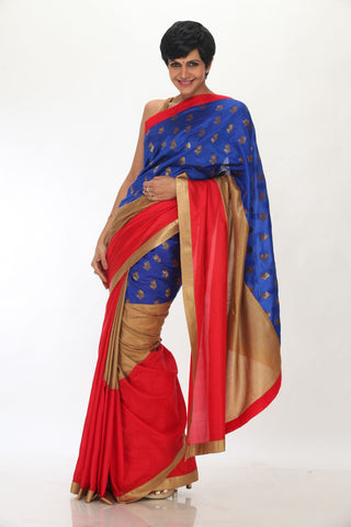 Red and Gold saree with Blue brocade