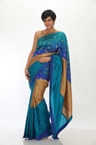Blue and Gold saree with Blue brocade
