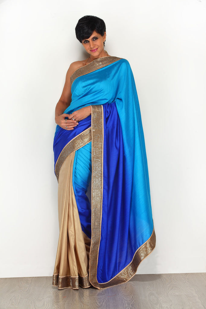 Blue Shaded Saree with Gold Border