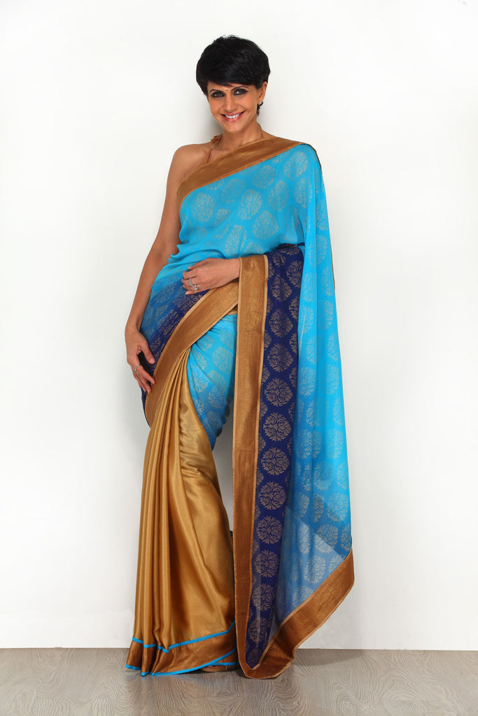 Blue Shaded Georgette Saree with Gold Border