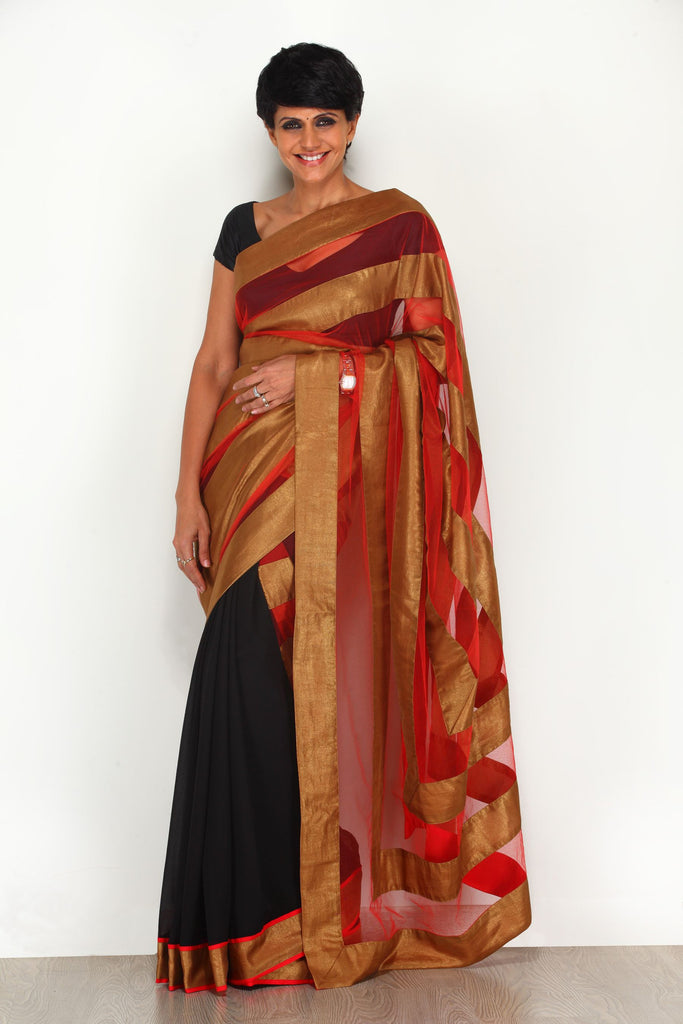 Black and Red Saree with Gold Stripes