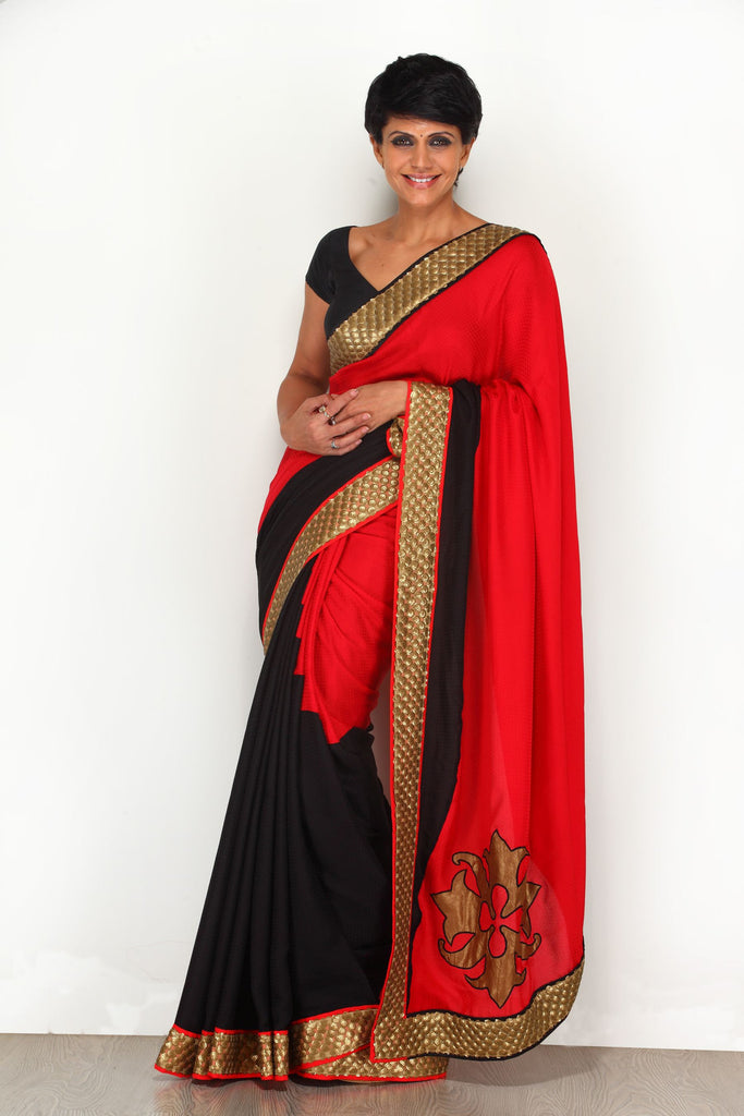 Red and Black Saree with Sequin Border